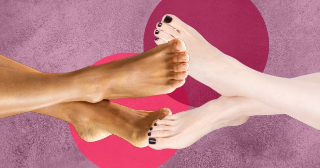 Two pairs of feet touching on a colourful background.