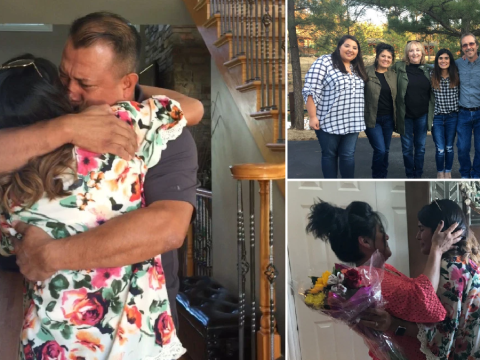 Moment woman, 27, put up for adoption as baby meets biological parents after 10 year search