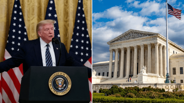 Donald Trump and the supreme court building