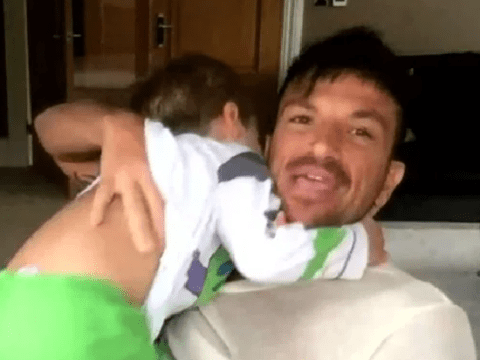 Peter Andre 'in the dog house' with wife Emily as he shows son's face during live TV appearance
