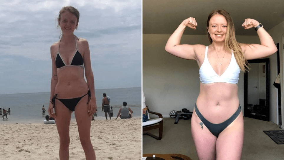Geneva Ottaviano at her thinnest next to a recent photo of her at a healthy weight.