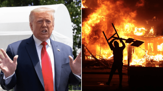 Photo of Donald Trump next to photo of Minneapolis riots