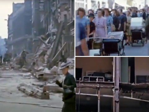 Incredible colour footage shows London's streets during the Blitz