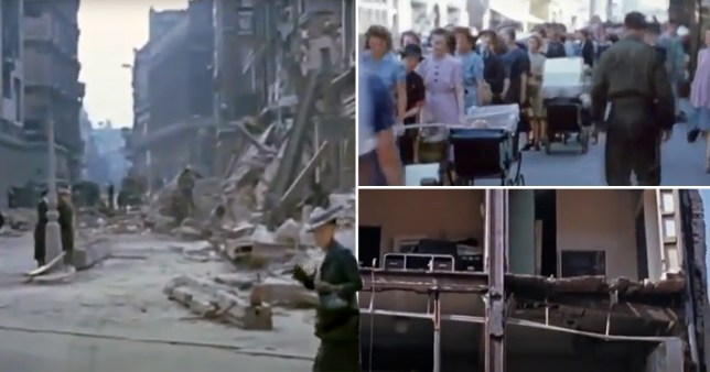 Screengrabs from the videos of the Blitz