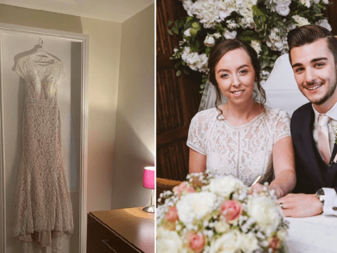 Husband makes stunning wedding dress frame for his wife for just £100