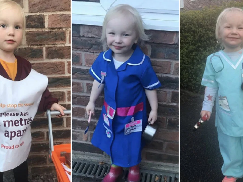 Toddler dresses up as a different key worker every Thursday for the nationwide clap