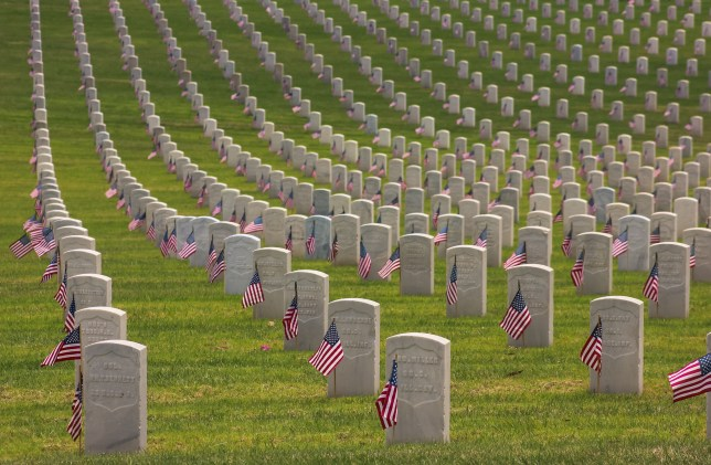 American flags on graves at the Los Angeles Memorial cemetery on Memorial Day