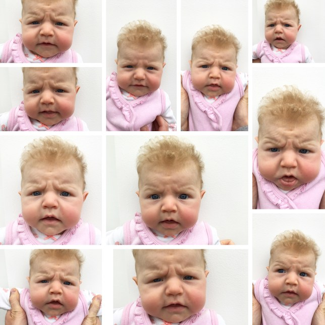 Alice Tranfield attempted to get some passport photos for her  three-month-old daughter Olive, with some hilarious results (Picture: Alice Tranfield)