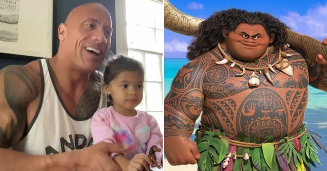The Rock pictured with his daughter Tia alongside a picture of his Disney character Maui in Moana