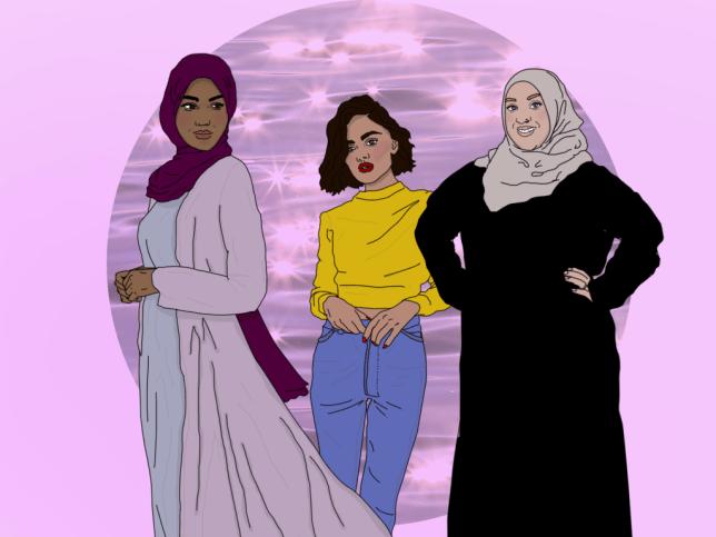 Drawings of three Muslim women