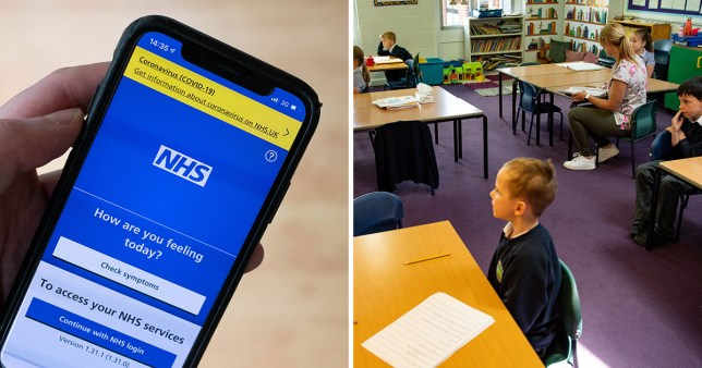 NHSX contact tracing app on a smartphone (left) and a primary school classroom before pupils return on June 1 amid the UK coronavirus outbreak