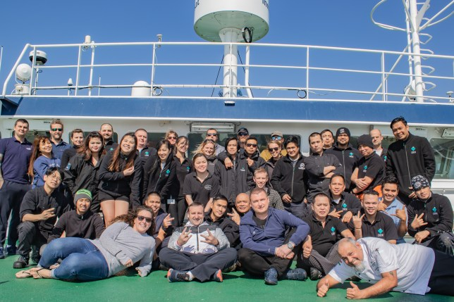 The crew and staff members who sailed on the Plancius across the Atlantic