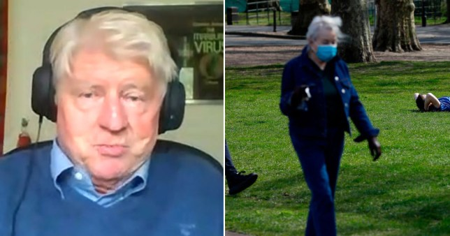 Stanley Johnson being interviewed about his dad who fought in the Second World War on ITV's Good Morning Britain on VE Day (May 8) 2020 (left) and woman wearing face mask during the UK coronavirus lockdown