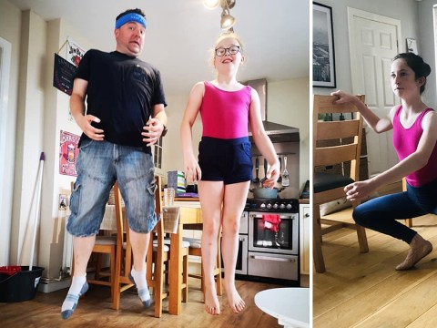 Dads join in their daughters' ballet classes and have a right laugh