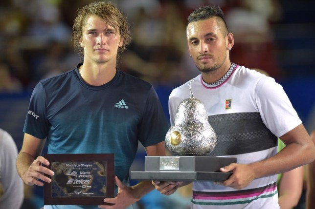 Winner Australian tennis player Nick Kyrgios (R) and German tennis player Alexander Zverev hold their trophies after the Mexico ATP Open men's singles tennis final in Acapulco, Guerrero state on March 2, 2019.