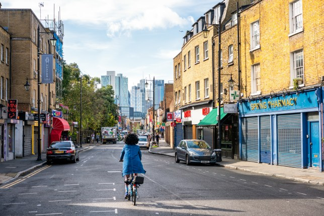 Cyclist in Hoxton, London
