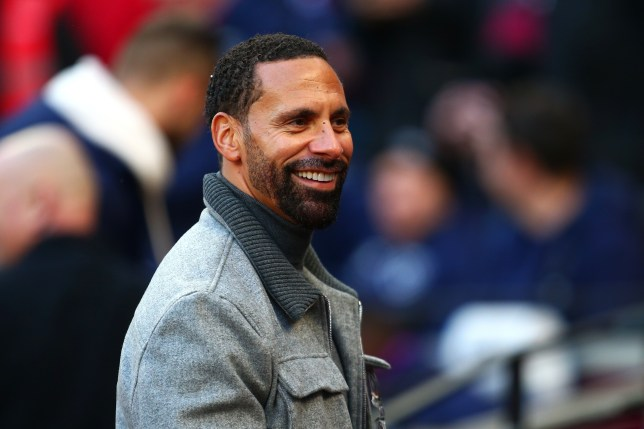 Manchester United legend Rio Ferdinand during Everton's Premier League clash with West Ham