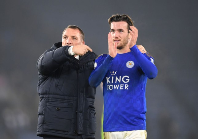 Brendan Rodgers with Ben Chilwell after Leicester's Premier League clash with West Ham