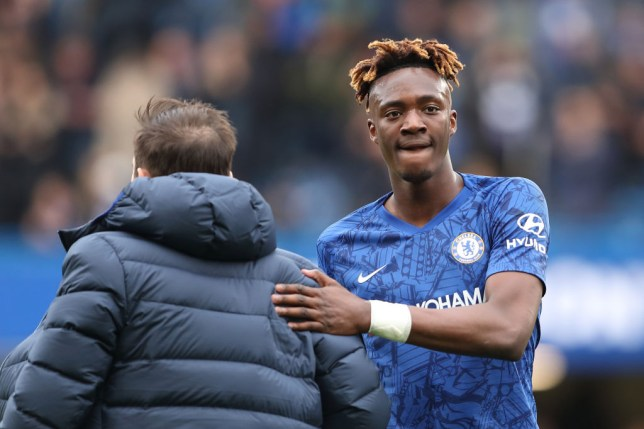 Tammy Abraham with Chelsea manager / head coach Frank Lampard at full time of the Premier League match between Chelsea FC and Tottenham Hotspur at Stamford Bridge on February 22, 2020 in London, United Kingdom.