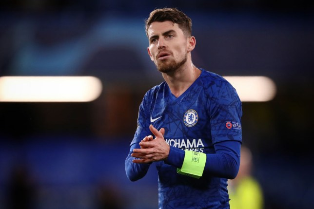 Jorginho of Chelsea applauds during the UEFA Champions