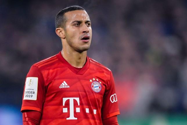 Liverpool transfer target Thiago Alcantara during Bayern Munich's clash with Schalke