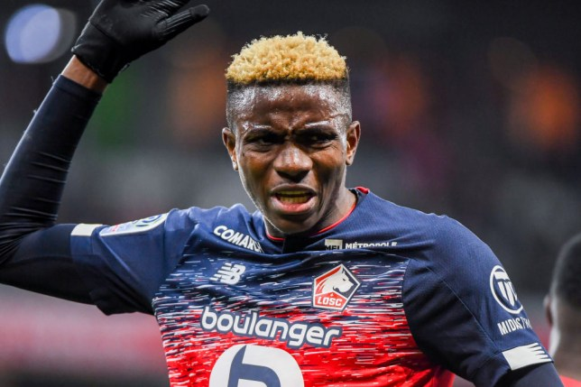 Manchester United and Chelsea transfer target Victor Osimhen during Lille's clash with Lyon