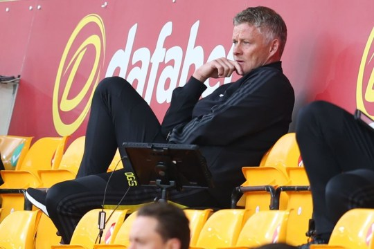 Norwegian Manchester United manager Ole Gunnar Solskjaer looks on from the stands during the FA Cup quarter final soccer match between Norwich City and Manchester United at Carrow Road in Norwich, East England on 27 June 2020. (Photo by Catherine Ivill / POOL / AFP) / RESTRICTED TO EDITORIAL USE.  No use with audio, video, data, match lists, club / league logos or unauthorized
