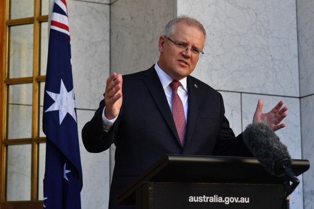 Australian Prime Minister Scott Morrison during a press conference