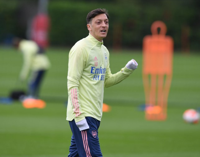 Mesut Ozil of Arsenal during a training session at London Colney on June 19, 2020 in St Albans, England.