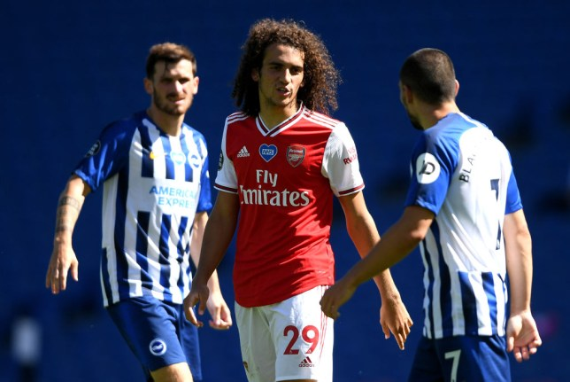 Matteo Guendouzi argues with Neal Maupay during Arsenal's Premier League defeat at Brighton