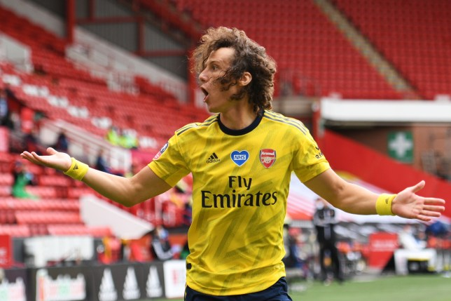 David Luiz looks on during Arsenal's FA Cup clash with Sheffield United