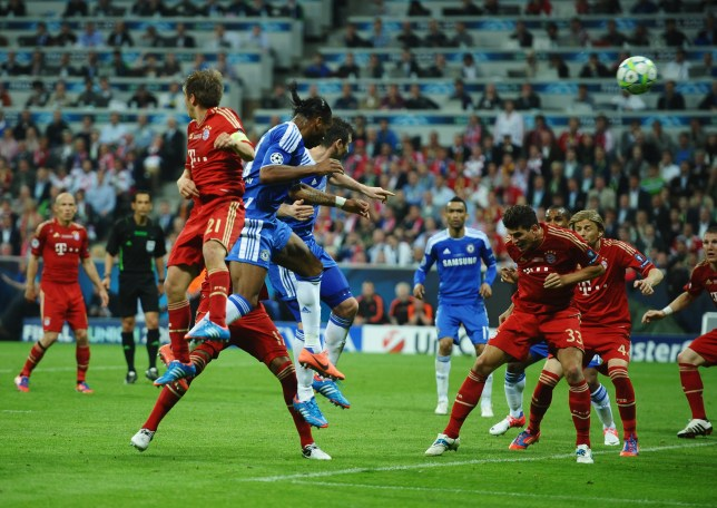 Didier Drogba scored Chelsea's equaliser against Bayern Munich in the 2012 Champions League final