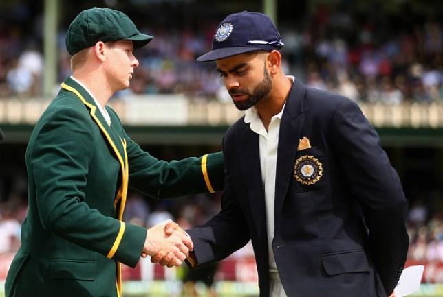 Steve Smith with India captain Virat Kohli before a Test match in Australia