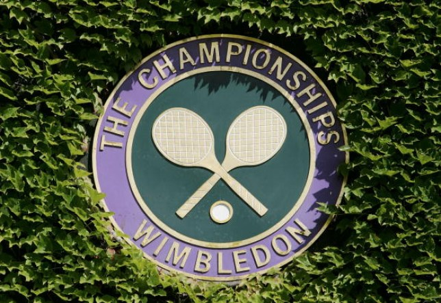 The Championships logo is seen on the third day of the Wimbledon Lawn Tennis Championship on June 22, 2005 at the All England Lawn Tennis and Croquet Club in London.