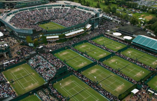 An aerial view a roofless Centre Court and the outside courts taken from the BBC elevated camera position during day four of the Wimbledon Lawn Tennis Championships at the All England Lawn Tennis and Croquet Club on June 28, 2007 in London, England.