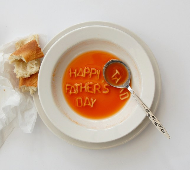 Alphabet soup spelling happy Father's Day