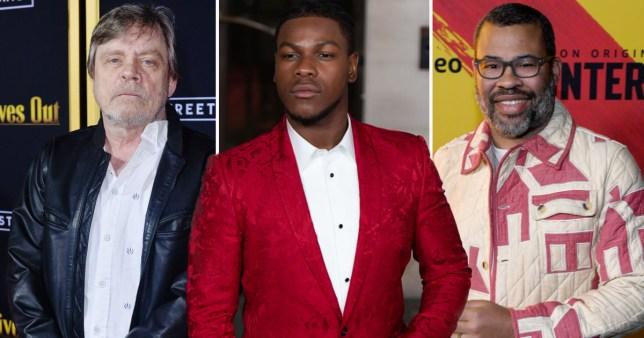 Mark Hamill, John Boyega and Jordan Peele pictured separately