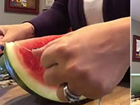 Woman shows how to cut watermelon effortlessly using dental floss