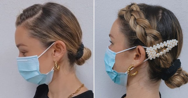 close up of woman wearing face mask with hair clip