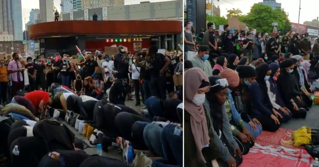 Screen grabs of footage showing protesters forming a circle around Muslims so they could pray during black lives matter demonstrations