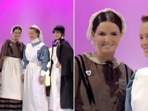BBC shares bizarre throwback of  Girls Aloud modelling Victorian nurses' uniforms on Blue Peter in 2003 and we're confused