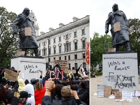 Black Lives Matter protesters spray 'racist' on Winston Churchill statue