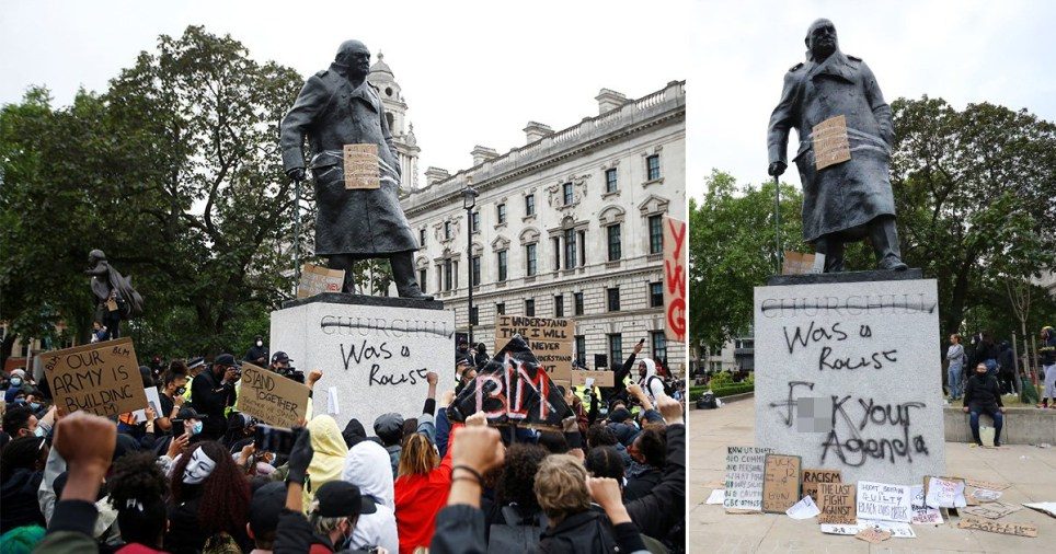 Winston Churchill statue vandalised with 'was a racist' in London during Black Lives Matter anti-racism protests