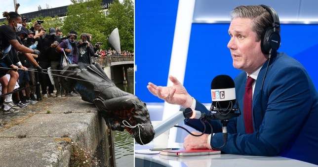 The statue was toppled and rolled into Bristol harbour yesterday
