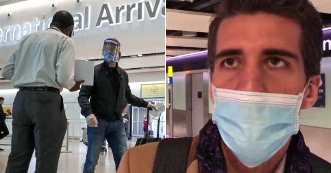 A passenger from Switzerland arrives at Heathrow Airport feeling unwell and says he is unaware of the UK's new 14 day quarantine rule but that he is about to get on the Tube