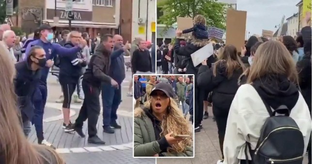 Videos show a group of mostly men shouting 'there's only one Lee Rigby' and 'go back to Africa' at anti-racist protesters in Hertfordshire.