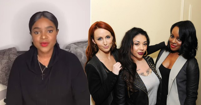 Keisha Buchanan pictured separately alongside photo of her in the Sugababes