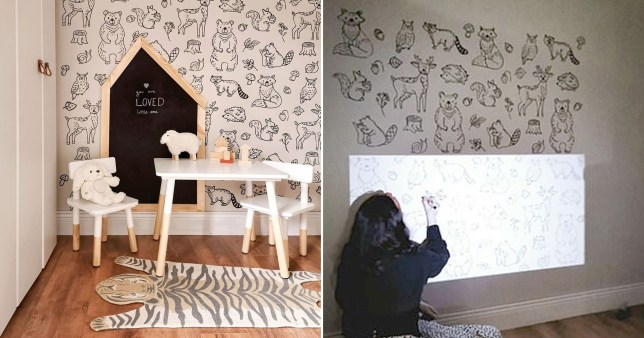 Mum creates amazing mural by projecting images ono wall and tracing around them with permanent marker
