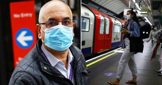 comp of commuters wearing face masks