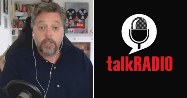 Iain Lee appearing via video link on The Jeremy Vine Show pictured alongside talkRADIO logo
